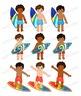 African American Surfer Boys Clipart - Clip Art