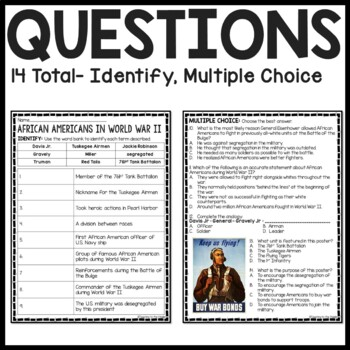African Americans During World War II (2) Reading Comprehension Worksheet, DBQ