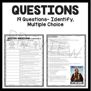 African Americans During World War II (2) Reading Comprehension Worksheet  DBQ
