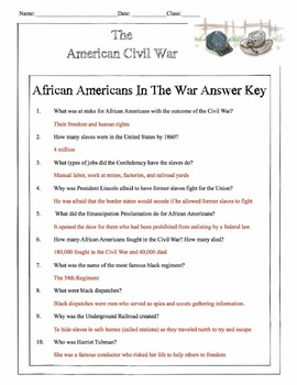 Civil War - African Americans In The War Content Sheet, Worksheet & Answer Key