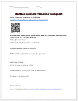 Buffalo Soldiers Timeline Webquest (African Americans and the West)