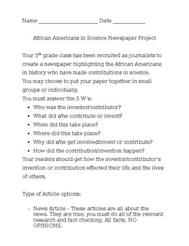 African Americans in Science Newspaper Project