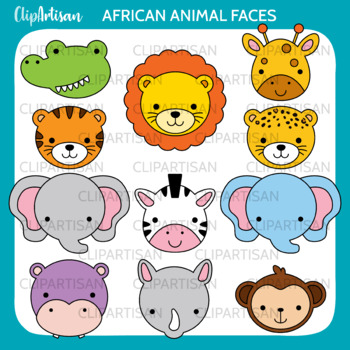 African Animala Clip Art | Safari Animal Masks