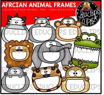 African Animal Frames Clip Art Bundle {Educlips Clipart}