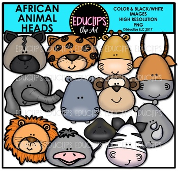 African Animal Heads Clip Art Bundle {Educlips Clipart}