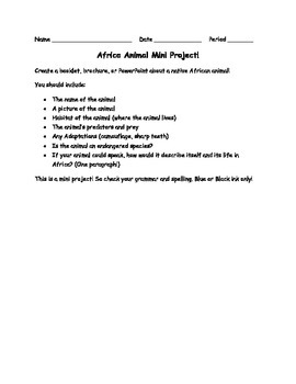 African Animal Mini-Project
