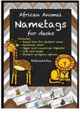 African Animal Name tags or Nameplates for Student Desks 2