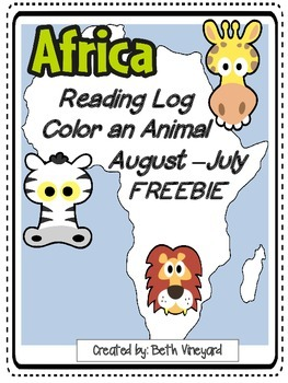 African Animal Reading Log for Primary-FREEBIE