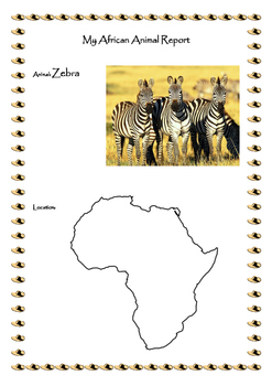 African Animal Report with Pictures