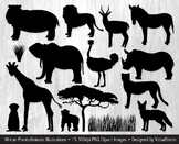 African Animal Silhouette Clipart, Hand Drawn Jungle Safari Animal Illustrations