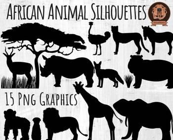 African Animal Silhouette Clipart, Hand Drawn Jungle Safar