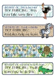 African Animal Theme Mindset Cue Cards or Posters