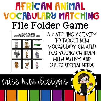 African Animal Vocabulary Folder Game for Early Childhood Special Education