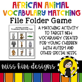 African Animal Vocabulary Folder Game for Students with Autism & Special Needs