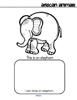 African Animals Activity Printables for Preschool - Read, Color and Draw