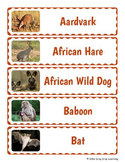 Animals of Africa Word Wall