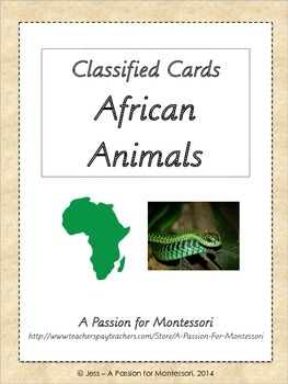 African Animals, 36 Three Part Cards, Montessori African Continent box