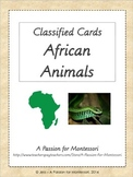 36 African Animals, Montessori Classified Cards, Flash cards, Continent Box