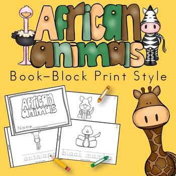 African Animals Book for Kindergarten and 1st Grade {Block
