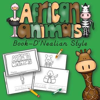 African Animals Book for Kindergarten and 1st Grade {D'Nealian Style}