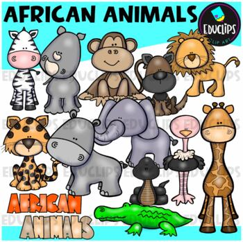 African Animals Clip Art Bundle {Educlips Clipart}