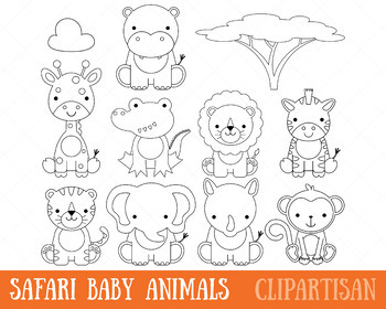African Animals Clip Art, Safari Animals Coloring Page
