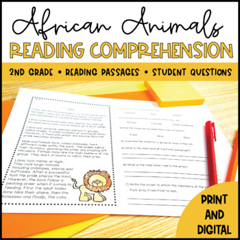 African Animals Close Reading - Distance Learning