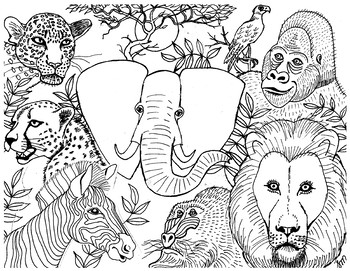 African Animals Colouring Page by Suzanne Munroe French ...