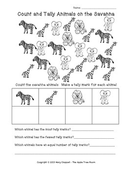 African Animals Count and Tally FREEBIE!