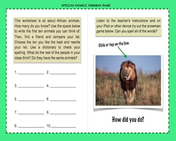African Animals Digital Hangman Game