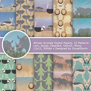 African Animals Digital Paper, 10 Printable Safari Wildlife Patterns