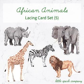 African Animals Lacing Card Set