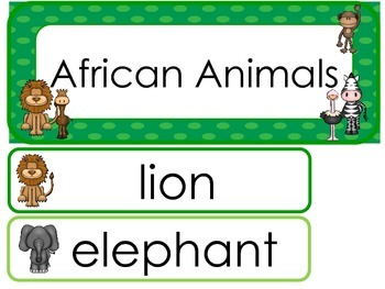 African Animals Word Wall Weekly Theme Posters.