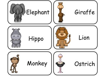 African Animals Picture Word Flash Cards. Preschool flash cards for children.