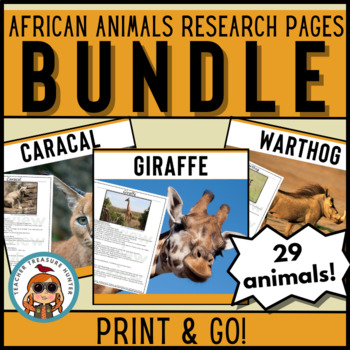 African Animals Reading & Writing Pages CCSS! 29 creatures Science & Literacy