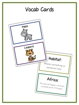 African Animals Research Project - 13 Types, Vocab Cards, Packet, Book  + More!