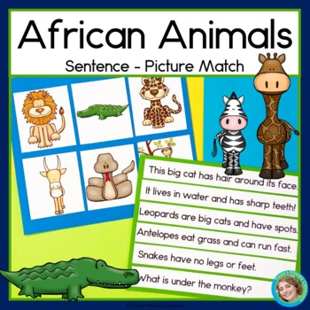 African Animals Sentence Picture Match