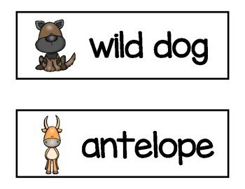 African Animals Vocabulary Word Cards