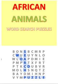 African Animals Word Search Puzzles