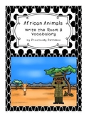 African Animals Write-the-Room and Vocabulary