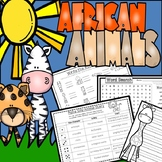 African Animals:  Writing Pages, Graphic Organizers, Animal Cards & More