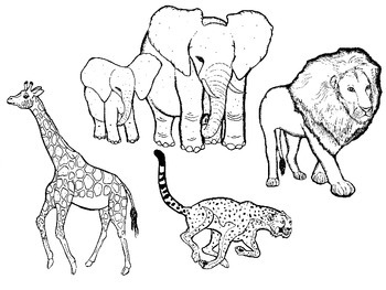 African Animals in Black and White: Commercial Clipart
