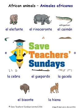 African Animals in Spanish Worksheets, Games, Activities and Flash Cards