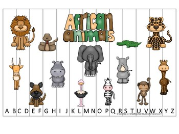African Animals themed Alphabet Sequence Puzzle child daycare curriculum activ