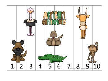 African Animals themed Alphabet and Numbers Sequence Puzzle child daycare activ