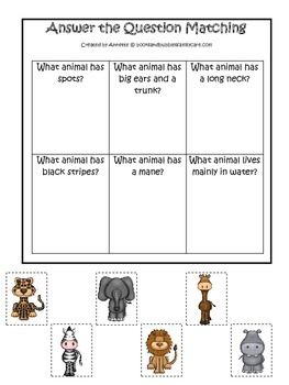 African Animals themed Answer the Question printable game.  Preschool activity.