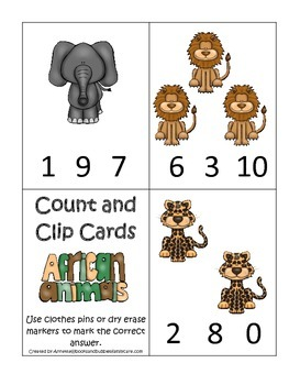 African Animals themed Count and Clip Cards child math curriculum .