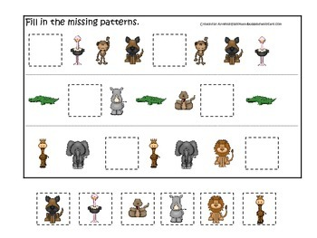 African Animals themed Fill in the Missing Pattern preschool printable game.