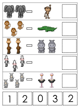 African Animals themed Math Subtraction preschool learning