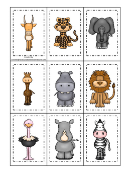 African Animals themed Memory Matching preschool curriculum game. Daycare